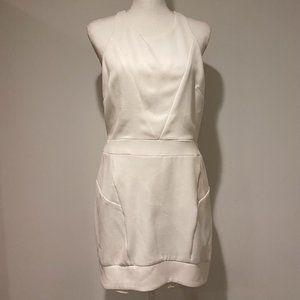 Line & Dot Fitted Sleeveless High Neck Mini Dress